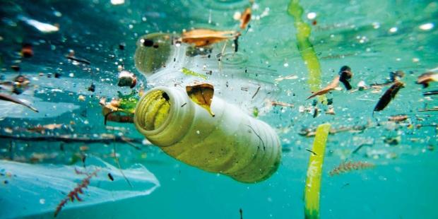 Trash floating on the Marseille shore line, Bouches-du-RhÙne, France.